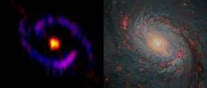 Composizione di due immagini della galassia M77: a sinistra l'immagine radio (ALMA) , a destra l'immagine ottica (Hubble Space Telescope)